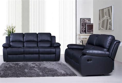 Valencia 3 + 2 Bonded Leather Recliner Sofa Suite   Black ...