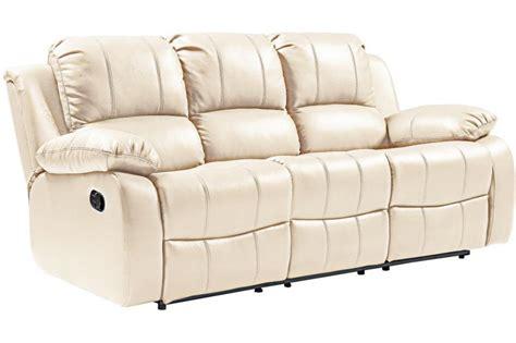 Valencia Genuine Leather Sofa Cream Recliner 3 Seater ...