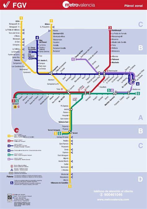 Valencia mapa del metro   Mapa del metro de valencia  España