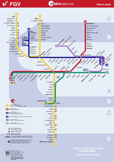 Valencia Metro Map: Map of the Underground System in ...