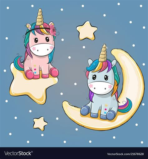 Valentine card with two unicorns on a moon and vector ...