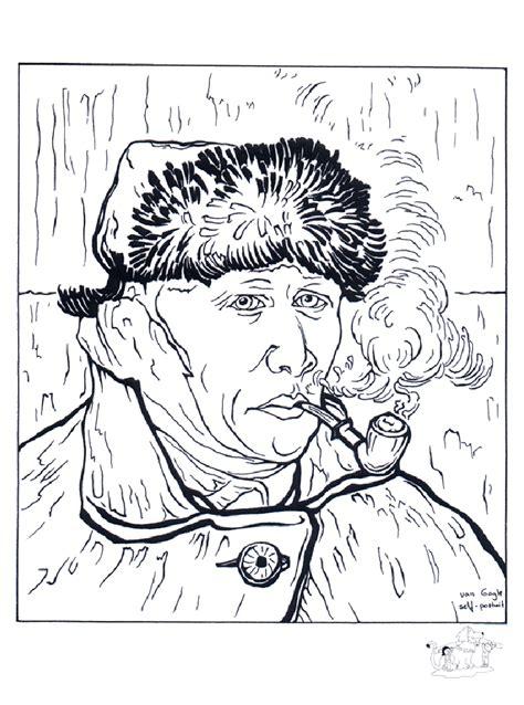 Van gogh autoportrait   Art Coloring pages for kids to ...