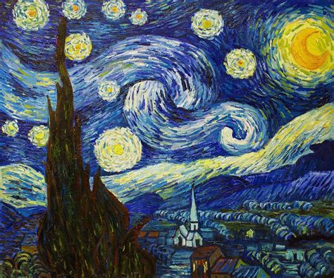 Van Gogh Starry Night Reproduction Painting   overstockArt
