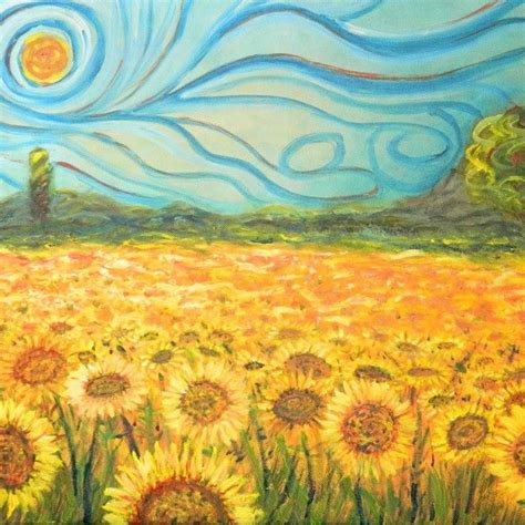 Van gogh Starry night / Sunflowers painting   Starry night ...