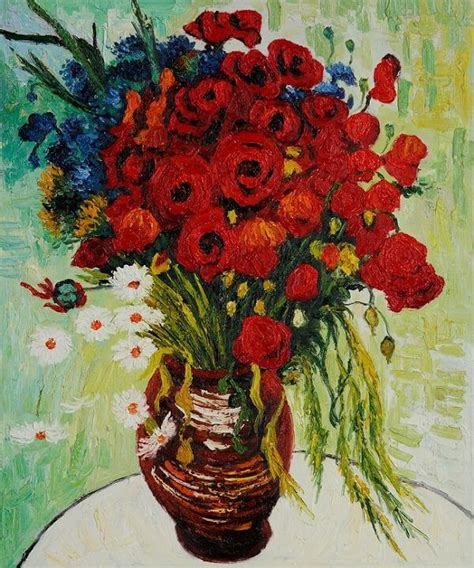 Vase with Daisies and Poppies, 1890 by Vincent Van Gogh