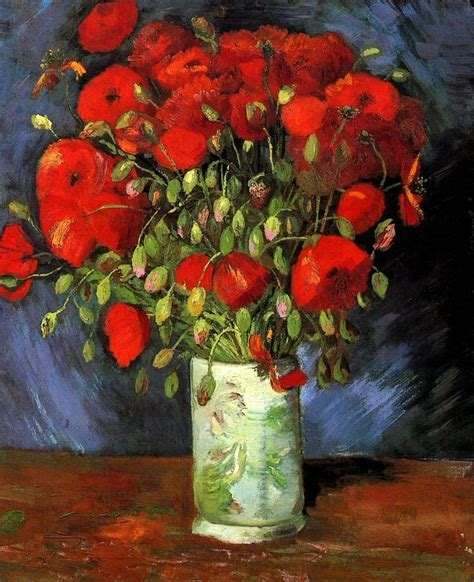 Vase with Red Poppies, 1886 by Vincent van Gogh ...