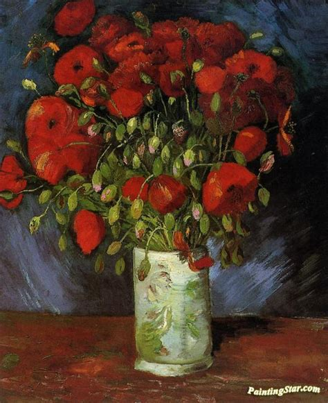 Vase With Red Poppies Artwork By Vincent Van Gogh Oil ...