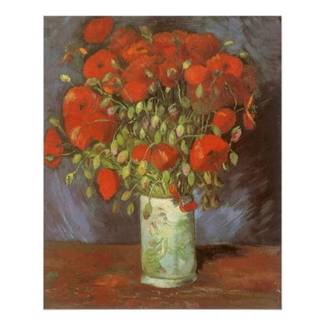 Vase with Red Poppies by Vincent van Gogh Poster | Zazzle.com
