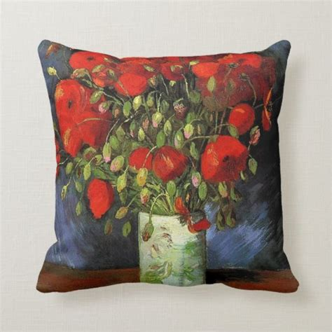 Vase with Red Poppies by Vincent van Gogh. Throw Pillow ...