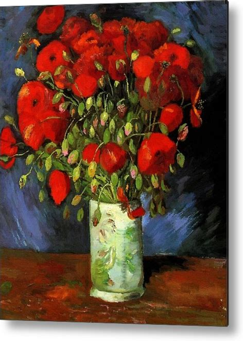 Vase With Red Poppies Metal Print by Vincent Van Gogh