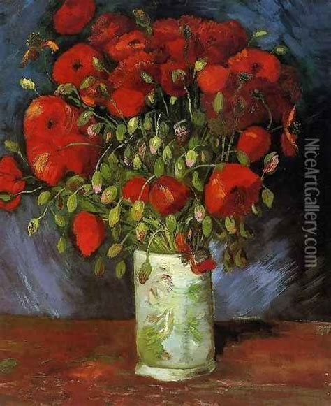 Vase With Red Poppies oil painting reproduction by Vincent ...