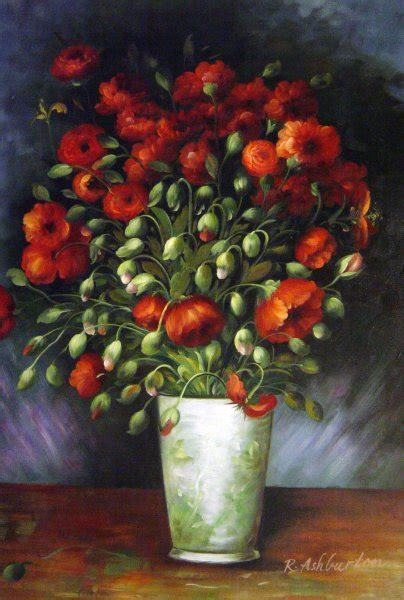 Vase With Red Poppies Painting by Vincent Van Gogh ...