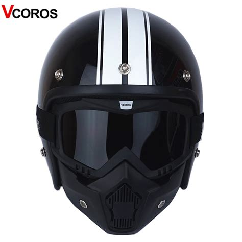 VCOROS 3/4 Open face vintage motorcycle helmet with ...