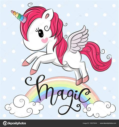 Vector: arcoiris unicornio   Dibujos animados unicornio ...