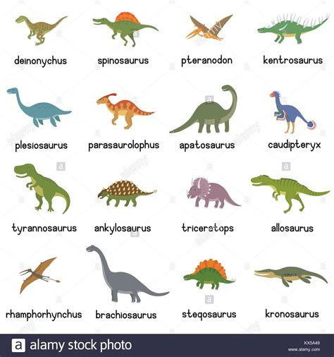 Vector collection of cute flat dinosaurs, including T rex ...