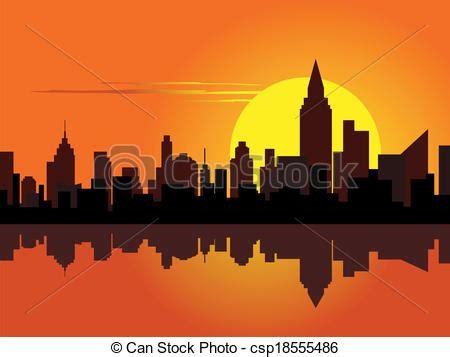 Vector de ciudad, amanecer   ciudad, en, amanecer, con, el ...