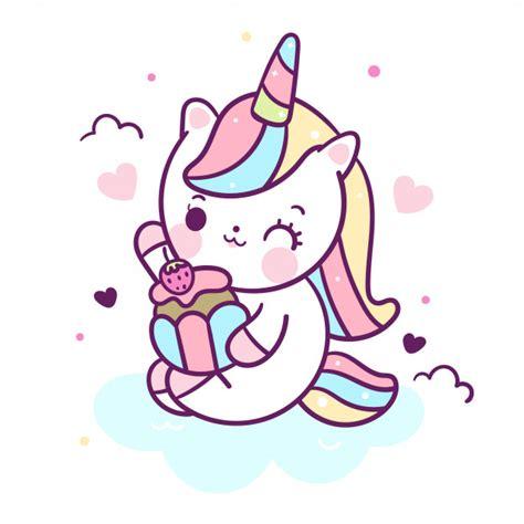 Vector de unicornio kawaii comer cupcake | Vector Premium