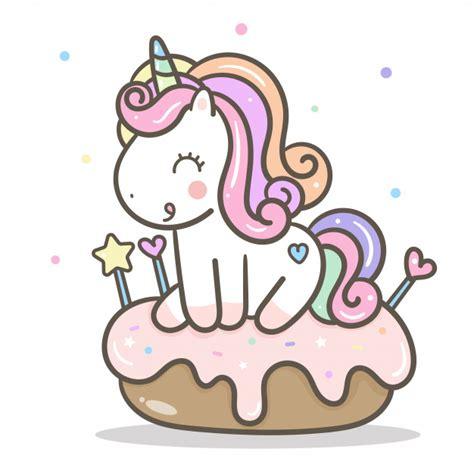 Vector de unicornio kawaii con pastel | Vector Premium