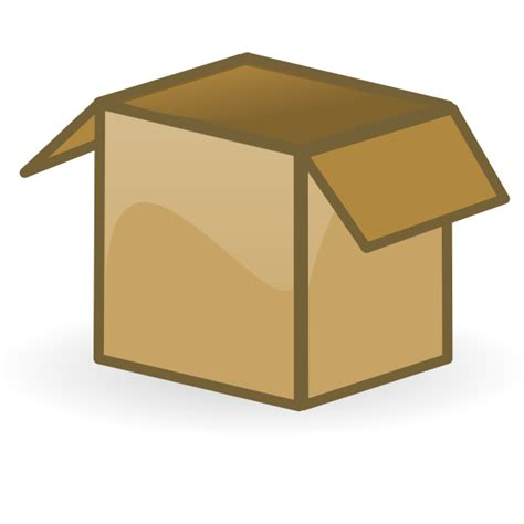 Vector drawing of open brown cardboard box | Free SVG
