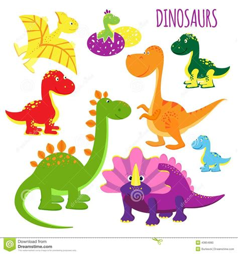 Vector Icons Of Baby Dinosaurs Stock Vector   Illustration ...