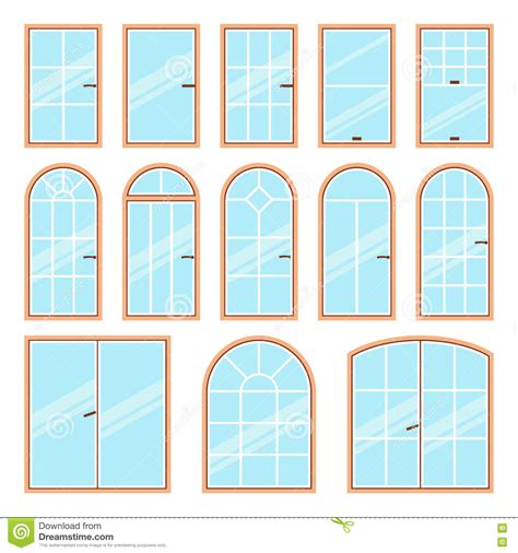 Vector Icons Set Of Different Types Of Windows Stock ...