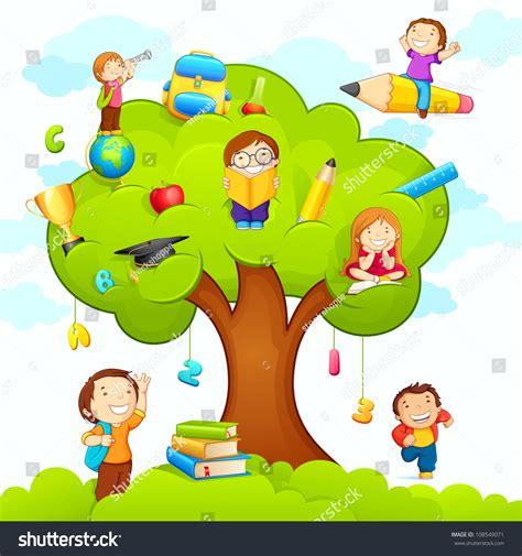 Vector Illustration Kids Studying On Tree Stock Vector ...