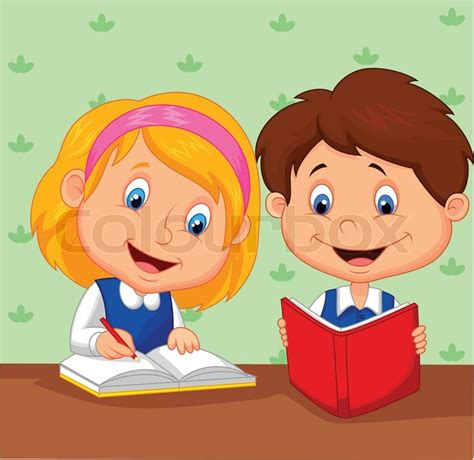 Vector illustration of Cartoon Boy and girl study together ...
