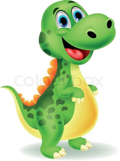 Vector illustration of Cute dinosaur cartoon | Stock ...