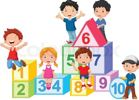Vector illustration of happy kids with numbers blocks ...