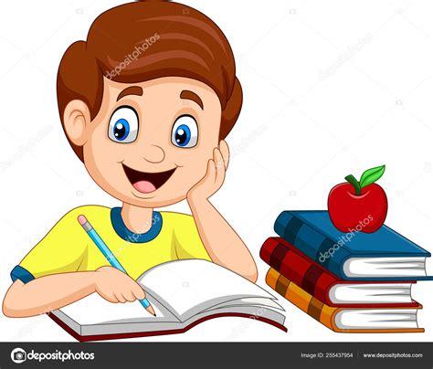 Vector Ilustración Dibujos Animados Niño Estudiando ...