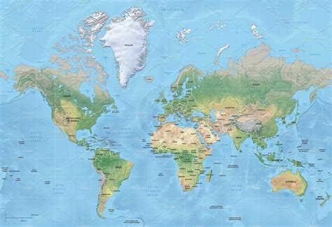 Vector map of world relief mercator ~ Graphics ~ Creative ...