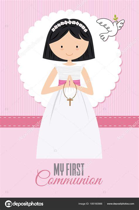 Vector: niña rezando primera comunion | Primera Niña ...