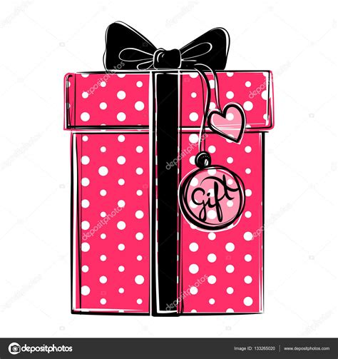 Vector: regalo rosa   Caja de regalo rosa de vector con ...