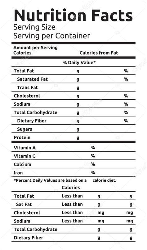 Vector: tabla informacion nutricional   Etiqueta de ...