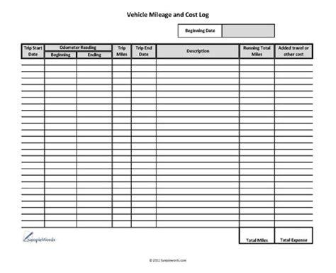Vehicle Mileage Log   Expense Form   Free PDF Download ...