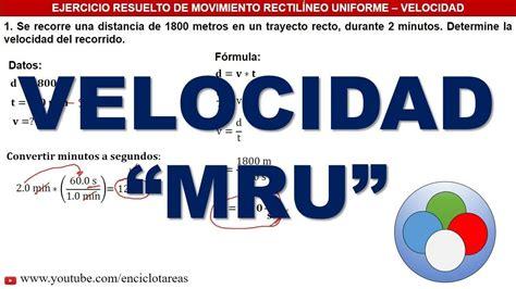 VELOCIDAD  MRU    TRES EJERCICIOS RESUELTOS   YouTube ...