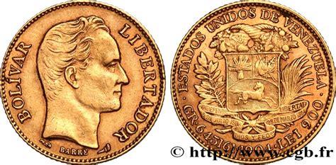 VENEZUELA 20 Bolivares or Simon Bolivar 1904 Paris fwo ...