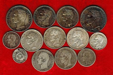 Venezuela   set of 13 silver coins: 50 bolivar cents  3 ...