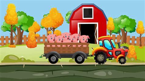 Video animado de granjeros, tractores, cerdos, lechones ...
