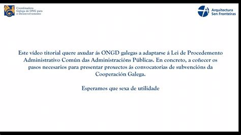 Vídeo titorial para ONGD  I . Coñecer a sede electrónica ...