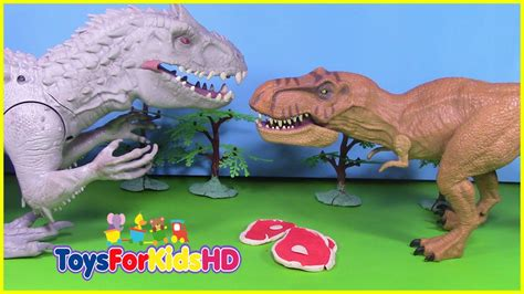 Vídeos de dinosaurios para niños INDOMINUS REX VS T REX ...