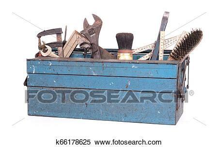 Viejo, caja de herramientas, llenado, con, vendimia ...
