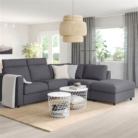 VIMLE Corner sofa, 4 seat   with open end with headrests ...