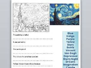 Vincent Van Gogh Starry Night Question Sheet & Colouring ...