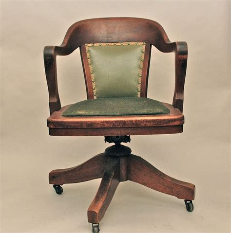 Vintage Antique Wooden Swivel Bankers or Library Chair ...