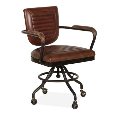Vintage Brown Jax Leather Office Chair | Luxury Retro ...
