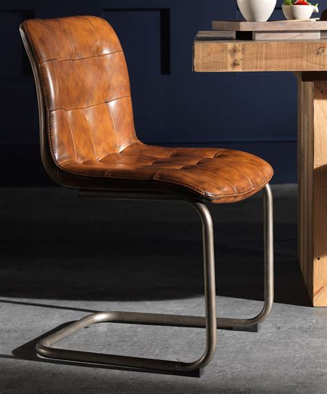 Vintage Button Leather Dining Chair | Leather dining ...