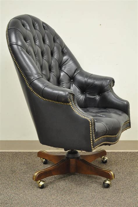 Vintage Deep Tufted Black Leather English Chesterfield ...