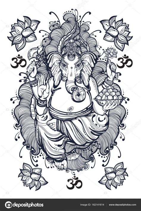 Vintage estilo gráfico señor Ganesha con elementos ...