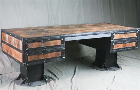 Vintage Industrial Reclaimed Wood Desk with Drawers ...